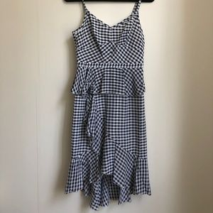 J. Crew Navy Gingham Midi Dress